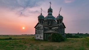 Outdoors Landscape Church Sun Sky 3840x2160 Wallpaper