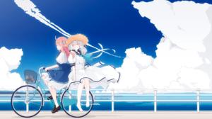 Zombieland Saga Anime Girls Long Hair 2D Fan Art Bycicle White Dress Clouds Coast Smiling Straw Hat  1920x1358 Wallpaper