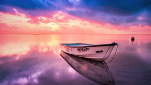 Boat Horizon Ocean Reflection Sea Sky Sunset 3000x2000 Wallpaper