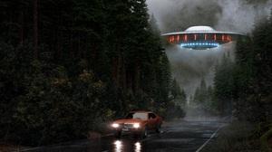 Road Spaceship Car Forest Flying Mist Rain Artwork Futuristic Science Fiction Lights Vehicle 8000x4500 Wallpaper