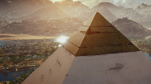 City Mountain Pyramid 2560x1440 Wallpaper