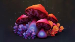 Digital Art Artwork Mushroom 1920x1080 Wallpaper