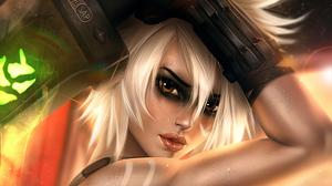 Riven League Of Legends Girl Face White Hair Brown Eyes 3000x1688 Wallpaper