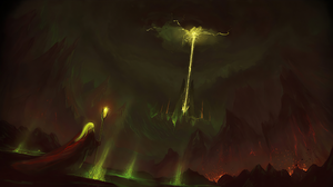 Artwork Volcano Mountains Painting Wizard 3840x2160 Wallpaper