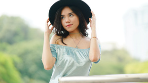 Woman Hat Depth Of Field Black Hair 7952x5304 Wallpaper