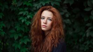 Ivan Ustinov Women Anna Zabolotskaya Redhead Long Hair Blue Eyes Freckles Plants Leaves Black Clothi 1600x1067 wallpaper