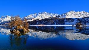 Lake Mountain Nature Reflection Switzerland 2048x1170 wallpaper