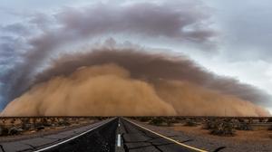 Sandstorms Clouds Horizon Road Desert Sky Nature Storm 1920x1080 wallpaper