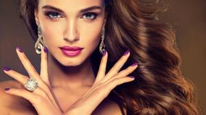 Woman Hair Makeup Lipstick Earrings Blue Eyes 4000x2460 wallpaper