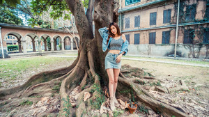 Asian Model Women Long Hair Dark Hair Trees Grass Leaves Depth Of Field Building Passage Jeans Skirt 3840x2561 Wallpaper