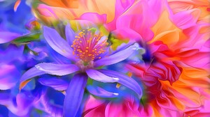 Abstract Flower Colors Colorful 1920x1080 Wallpaper