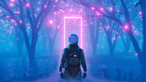 Astronaut Neon Neon Glow Lake Lucerne 1920x1080 Wallpaper