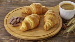 Breakfast Chocolate Coffee Croissant Viennoiserie 2560x1708 Wallpaper