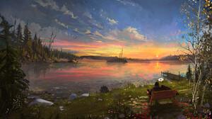 Artwork Digital Art Nature Lake Trees Sunset Couple Ismail Inceoglu 2480x1732 Wallpaper