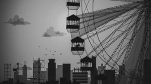 Illustration City Sparrow Sun Silhouette Monochrome 3840x2160 Wallpaper