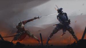 Armor Fight Katana Samurai Sword Warrior 1920x1080 Wallpaper