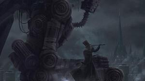 Digital Art Fantasy Art Alexey Egorov Frankenstein Fantasy City Robot 950x1442 Wallpaper