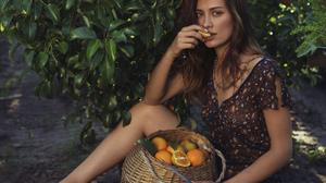 Women Brunette Dress Orange Fruit David Dubnitskiy 1118x1500 wallpaper