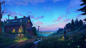 Denis Istomin Landscape Sky Trees Clouds Lantern House Street Light Colorful 1920x844 Wallpaper