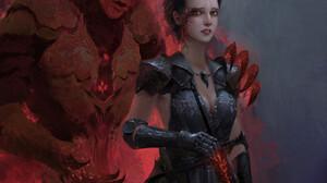 Liu Xuan Women Artwork Demon Fantasy Art Fantasy Girl Dark Hair Horns Glowing Eyes Sword Weapon Girl 1600x2590 Wallpaper