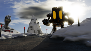 Blender 3D 3D Graphics 3D Sculpture Snow Snow Covered Mountain Area Snowy Mountain Snowy Peak Robot  1920x1080 Wallpaper