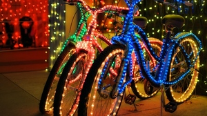 Bicycle Christmas Christmas Lights Colors Vehicle 1920x1536 Wallpaper