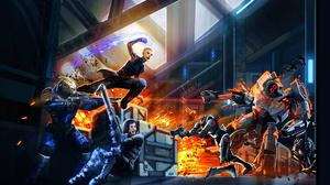 Sci Fi Battle War Weapon Laser Woman Woman Warrior Fire Jack Mass Effect Garrus Vakarian 1920x1080 Wallpaper