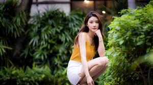 Asian Model Women Long Hair Brunette White Skirt Yellow Shirt Barefoot Sandal Bushes Depth Of Field  3840x2559 wallpaper