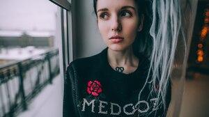 Aliona German Women Pierced Septum Dyed Hair Tattoo Dreadlocks 1920x1282 Wallpaper