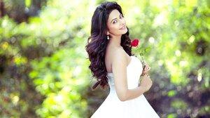 Model Women Red Lipstick Smiling White Dress Women Outdoors Indian Model Actress Rakul Preet Singh 1920x1080 Wallpaper