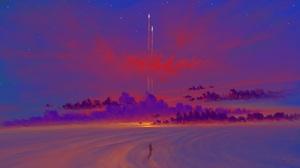 Digital Art Landscape Sky Clouds Rocket BisBiswas 1920x1080 Wallpaper