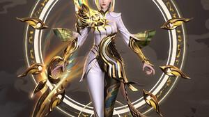 Xiao Pohai CGi Women Blonde Gold Warrior Armor Fantasy Art Floating Clouds 1920x2661 Wallpaper