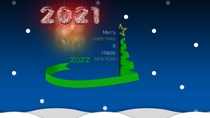Christmas Happy New Year Christmas Tree Snow Fireworks 3000x2000 Wallpaper