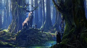 Animal Deer Forest Giant People River Tree 1920x1270 Wallpaper