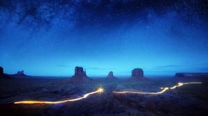 USA Monument Valley Arizona Nature Landscape Stars Sky Night 2500x1666 Wallpaper