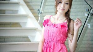 Asian Pink Dress Long Nails Looking Away Stairs 1920x1200 Wallpaper