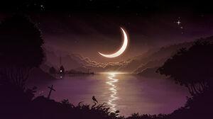 Silhouette Minimalism Crescent Moon 1920x1080 Wallpaper