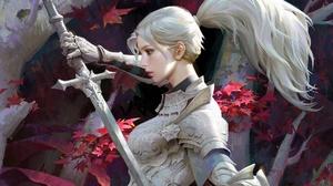 Armor Girl Knight Ponytail Sword White Hair Woman Warrior 1920x1306 Wallpaper
