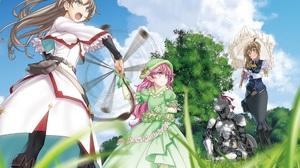 Guild Girl Goblin Slayer Girl Blue Eyes Pink Hair Dress White Dress Hat Green Dress Skirt Long Hair  2525x2048 Wallpaper