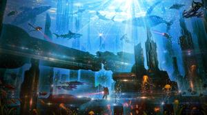 City Building Shark Whale Jellyfish 3200x1800 Wallpaper