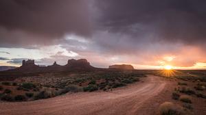 Cloud Desert Dirt Road Landscape Monument Valley Nature Sunbeam Sunrise Utah 2560x1600 Wallpaper