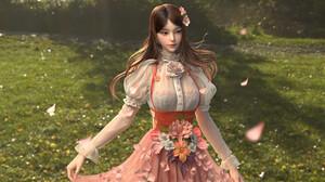 Artwork Digital Art Yangzhengnan Cheng Fantasy Girl Flowers Cherry Blossom Dress 3d Girl 3D Graphics 3840x2486 Wallpaper