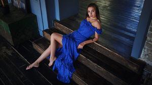 Sergey Fat Women Brunette Dress Dots Blue Clothing Legs Barefoot Stairs Looking At Viewer Model Blue 1920x1080 Wallpaper