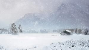 Hut Mountain Pine Tree Snow Snowfall Winter 3840x2160 Wallpaper