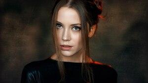 Alexey Kishechkin Women Ksenia Kokoreva Brunette Looking At Viewer Indoors Black Clothing Portrait 2560x1440 wallpaper