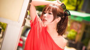 Asian Women Model Long Hair Brunette Depth Of Field Sunglasses Red Shirt Bare Shoulders Leaning Pony 1920x1281 Wallpaper