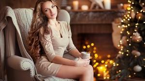 Christmas Long Hair Brunette 2048x1392 Wallpaper