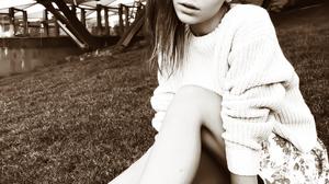 Ksenia Kokoreva Women Straight Hair Looking At Viewer Sweater Skirt Legs Sneakers Grass Monochrome S 1080x1350 wallpaper
