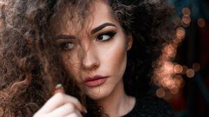 Face Brunette Eyes Lips Nails Eyebrows Curly Hair Women 4368x2912 Wallpaper