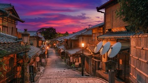 City Evening House Japan Kyoto Street 2000x1335 Wallpaper